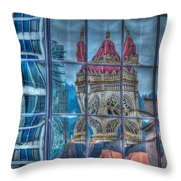 Distorted Portland Throw Pillow