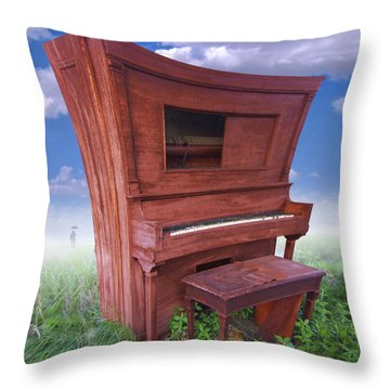 Distorted Upright Piano 2 Throw Pillow by Mike McGlothlen