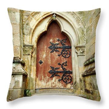 Distressed Door Throw Pillow by Valerie Reeves