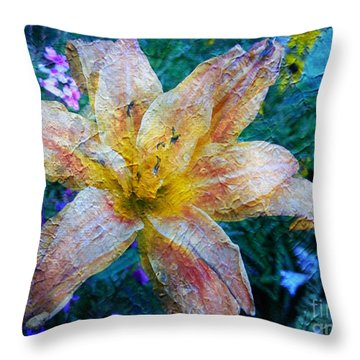 Distressed Lily Throw Pillow
