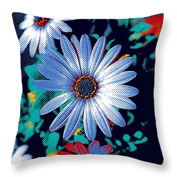 Dithered Daisies Throw Pillow