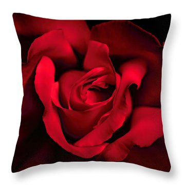 Throw Pillow featuring the photograph Haunting Red Rose Flower by Jennie Marie Schell