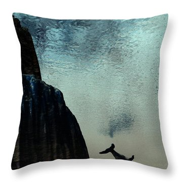Dive Throw Pillow by John Pangia