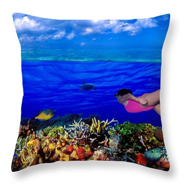 Diver Along Reef With Parrotfish, Green Throw Pillow