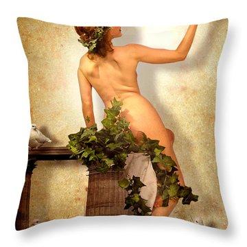 Divine Nymph Throw Pillow by Yvon van der Wijk