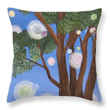 Throw Pillow featuring the painting Divine Possibilities by Cheryl Bailey