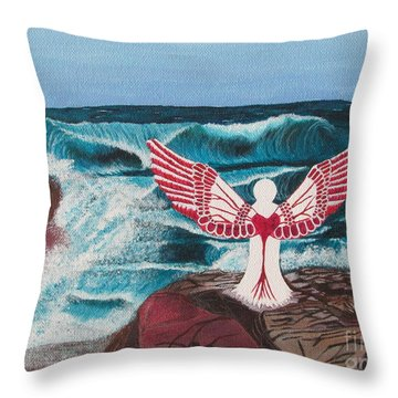 Throw Pillow featuring the painting Divine Power by Cheryl Bailey