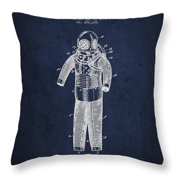Diving Armor Patent Drawing From 1893 Throw Pillow