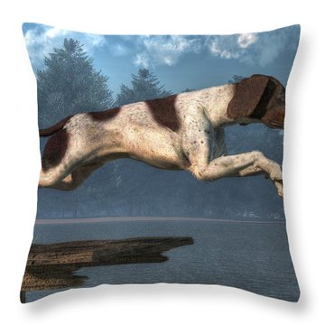 Diving Dog Throw Pillow by Daniel Eskridge