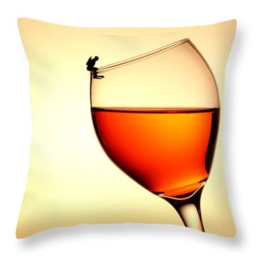 Diving In Red Wine Little People On Food Throw Pillow