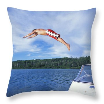 Diving Into A Lake Throw Pillow