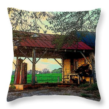Throw Pillow featuring the photograph Dixie Oil And Gasoline by Rodney Lee Williams
