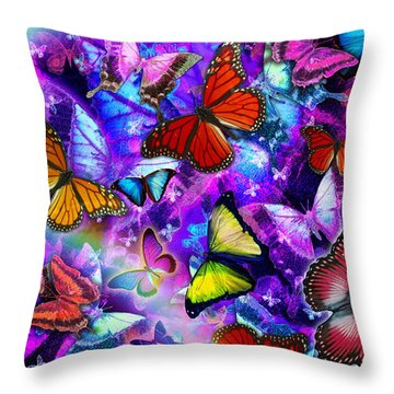 Dizzy Colored Butterfly Explosion Throw Pillow by Alixandra Mullins