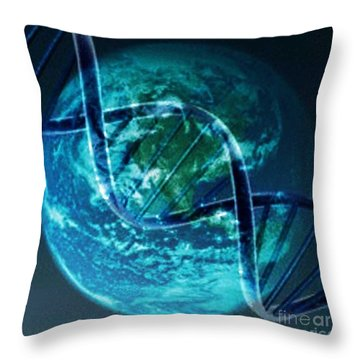 Dna Globe Throw Pillow by PainterArtist FIN