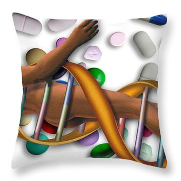 Dna Surrounded By Pills Throw Pillow