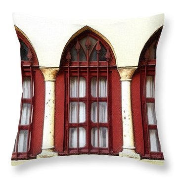 Throw Pillow featuring the photograph Do-00368 The 3 Windows Downtown by Digital Oil