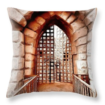 Throw Pillow featuring the photograph Do-00424 Portail Of Citadel Sidon by Digital Oil
