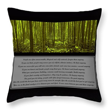 Do It Anyway Bamboo Forest Throw Pillow