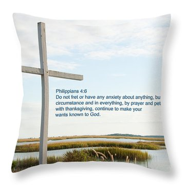 Belin Church Cross At Murrells Inlet With Bible Verse Throw Pillow by Vizual Studio