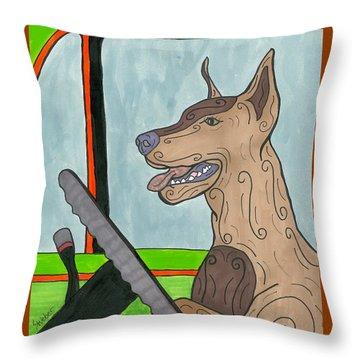 Doberman Driving Throw Pillow