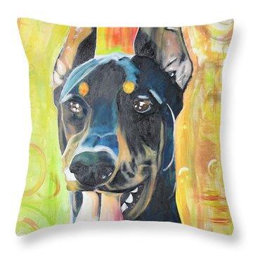 Doberman Throw Pillow by PainterArtist FIN