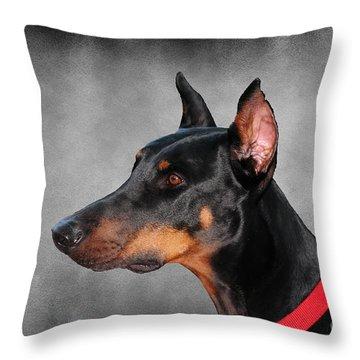 Doberman Pinscher Throw Pillow by Paul Ward