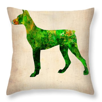Doberman Pinscher Paintings Throw Pillows