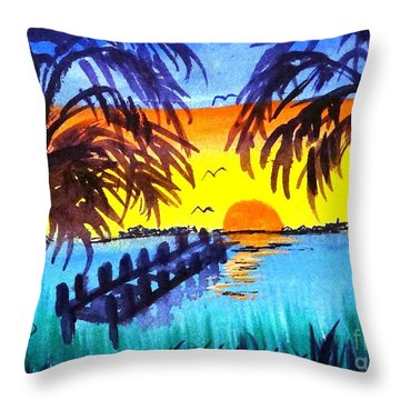 Throw Pillow featuring the painting Dock At Sunset by Ecinja Art Works