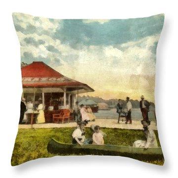 Dock At Waukazoo Holland Michigan Throw Pillow