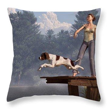 Dock Dog Throw Pillow by Daniel Eskridge