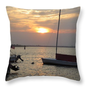 Dock Of The Bay Throw Pillow by Sandra Spincola