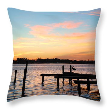 Dock On The Bay Throw Pillow by Margie Amberge