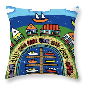 Dock Street-cedar Key Throw Pillow