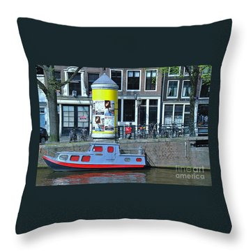 Throw Pillow featuring the photograph Docked In Amsterdam by Allen Beatty