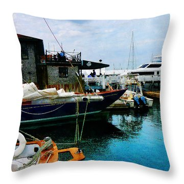 Docked Boats In Newport Ri Throw Pillow by Susan Savad