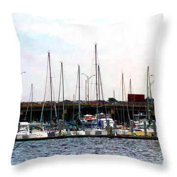 Docked Boats Norfolk Va Throw Pillow