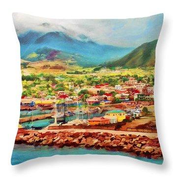 Docked In St. Kitts Throw Pillow
