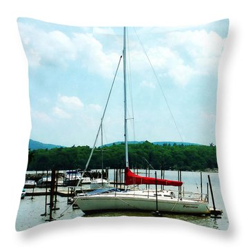 Docked On The Hudson River Throw Pillow by Susan Savad