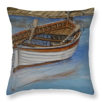 Docked Rowboat Throw Pillow by Kelly Mills