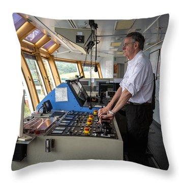 Docking A Z-drive Ship Throw Pillow
