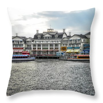 Docking At The Boardwalk Walt Disney World Throw Pillow by Thomas Woolworth