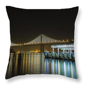 Docks And Bay Lights Throw Pillow