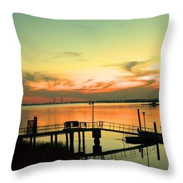 Docks At Dusk Throw Pillow