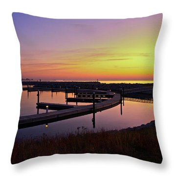Docks At Sunrise Throw Pillow by Jonah  Anderson