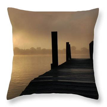 Dockside And A Good Morning Throw Pillow by Randy J Heath