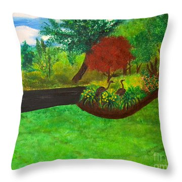 Throw Pillow featuring the painting Doc's Landscape by Denise Tomasura