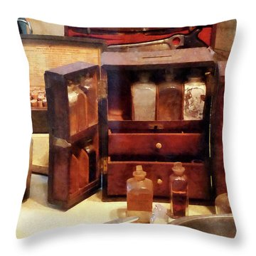 Throw Pillow featuring the photograph Doctor - Case With Medicine Bottles by Susan Savad
