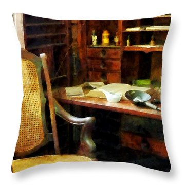 Throw Pillow featuring the photograph Doctor - Doctor's Office by Susan Savad