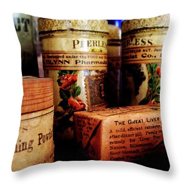 Throw Pillow featuring the photograph Doctor - Liver Pills In General Store by Susan Savad