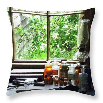 Throw Pillow featuring the photograph Doctor - Medicine And Hurricane Lamp by Susan Savad